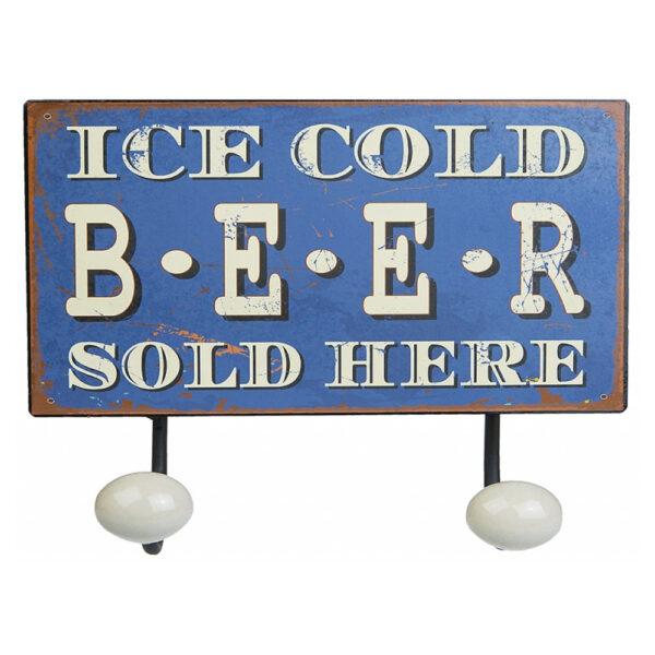 Agora - Metallskylt med Krokar - Ice Cold Beer Sold Here